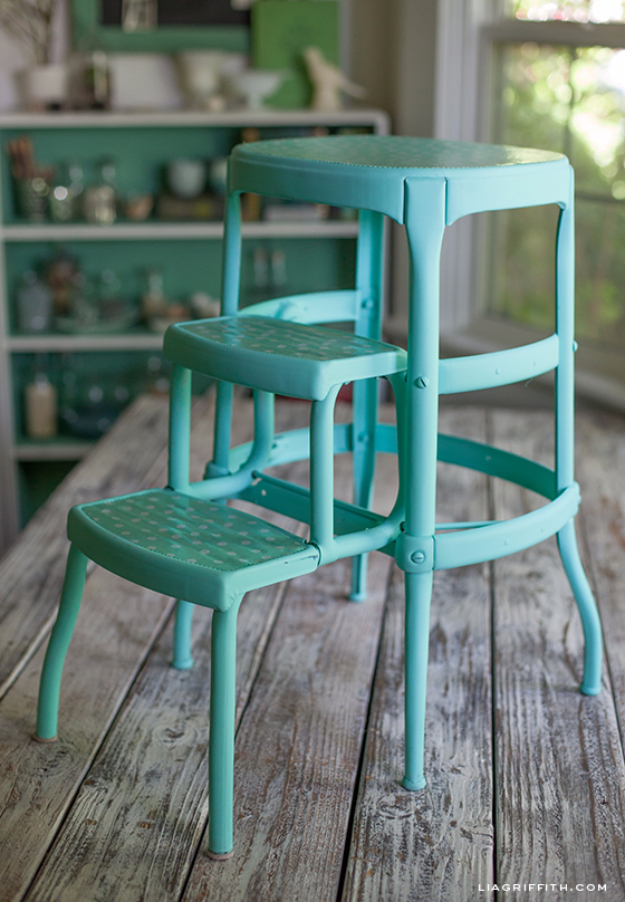 DIY Seating Ideas - DIY Upcycled Vintage Step Stool - Creative Indoor Furniture, Chairs and Easy Seat Projects for Living Room, Bedroom, Dorm and Kids Room. Cheap Projects for those On A Budget. Tutorials for Cushions, No Sew Covers and Benches