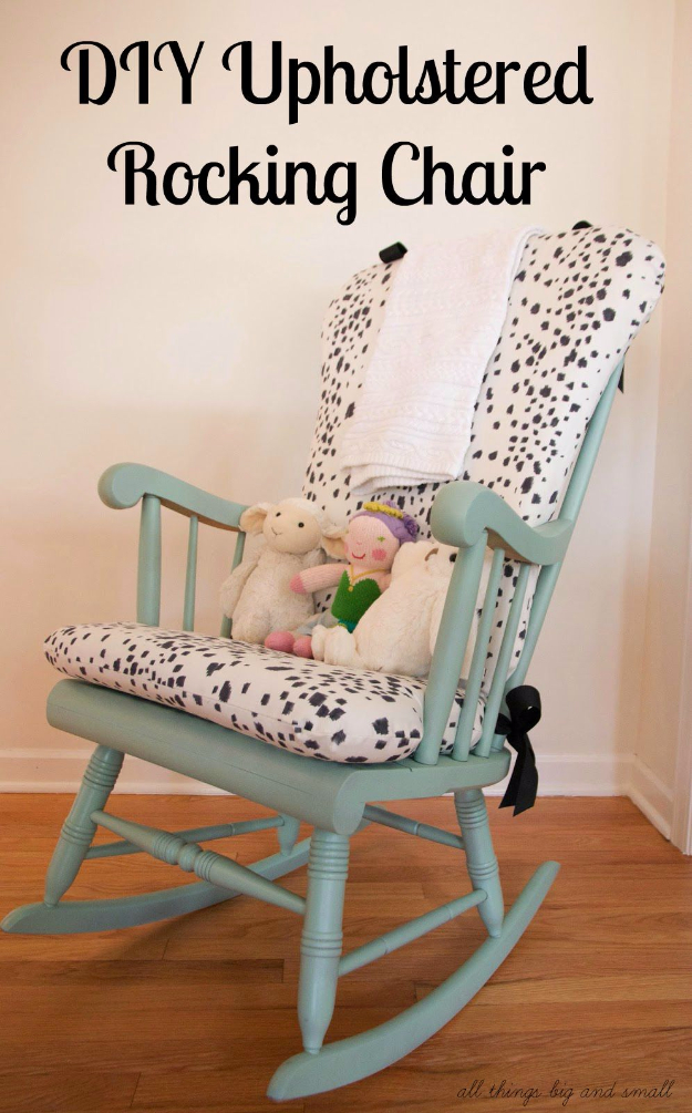 DIY Seating Ideas - DIY Upholstered Rocking Chair - Creative Indoor Furniture, Chairs and Easy Seat Projects for Living Room, Bedroom, Dorm and Kids Room. Cheap Projects for those On A Budget. Tutorials for Cushions, No Sew Covers and Benches
