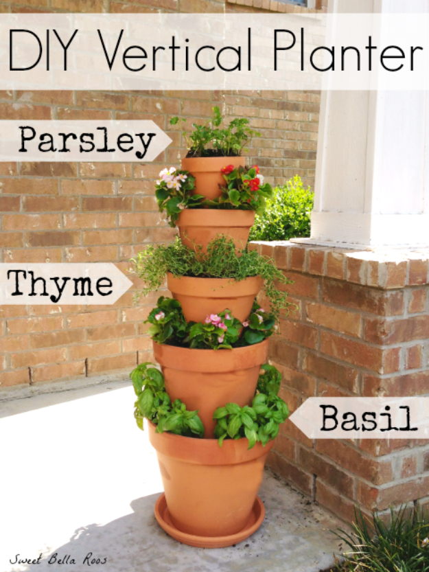 Creative DIY Planters - DIY Vertical Planter - Best Do It Yourself Planters and Crafts You Can Make For Your Plants - Indoor and Outdoor Gardening Ideas - Cool Modern and Rustic Home and Room Decor for Planting With Step by Step Tutorials #gardening #diyplanters #diyhomedecor