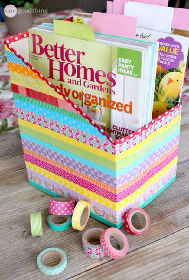 DIY Projects for Teenagers - DIY Washi Tape Cereal Box Organizers - Cool Teen Crafts Ideas for Bedroom Decor, Gifts, Clothes and Fun Room Organization. Summer and Awesome School Stuff