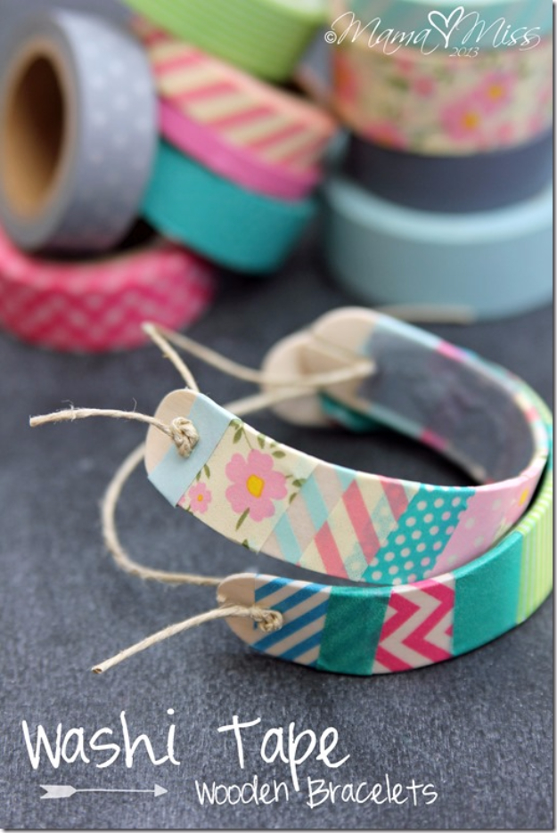 DIY Projects for Teenagers - DIY Washi Tape Wooden Bracelets - Cool Teen Crafts Ideas for Bedroom Decor, Gifts, Clothes and Fun Room Organization. Summer and Awesome School Stuff