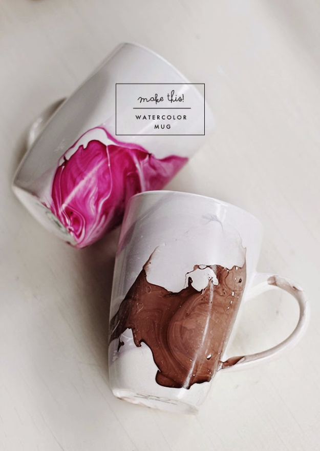 DIY Projects for Teenagers - DIY Watercolor Mug - Cool Teen Crafts Ideas for Bedroom Decor, Gifts, Clothes and Fun Room Organization. Summer and Awesome School Stuff