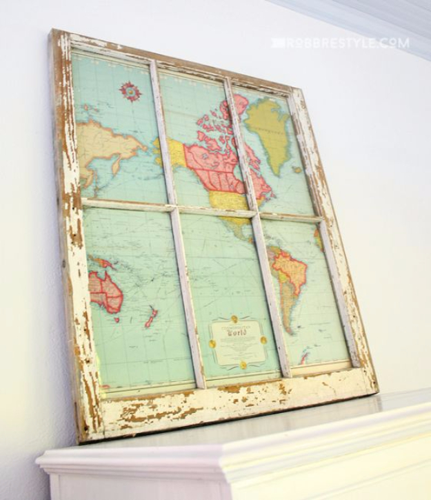 DIY Farmhouse Style Decor Ideas - DIY Window Map - Creative Rustic Ideas for Cool Furniture, Paint Colors, Farm House Decoration for Living Room, Kitchen and Bedroom #diy #diydecor #farmhouse #countrycrafts