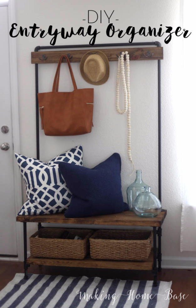 DIY Ideas for Your Entry - DIY Wood And Pipe Entryway Stand - Cool and Creative Home Decor or Entryway and Hall. Modern, Rustic and Classic Decor on a Budget. Impress House Guests and Fall in Love With These DIY Furniture and Wall Art Ideas http://diyjoy.com/diy-home-decor-entry