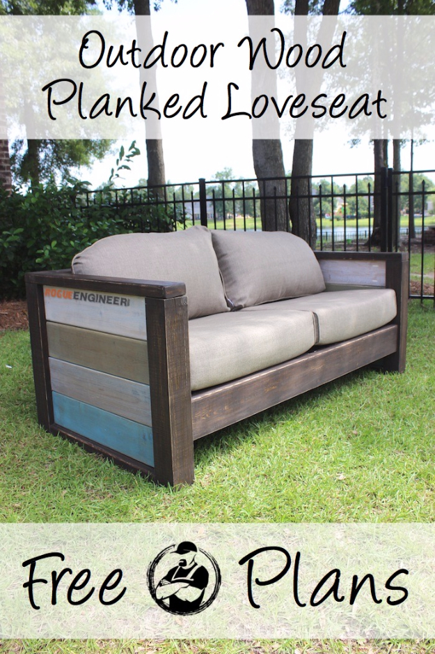 DIY Sofas and Couches - DIY Wood Plank Love Seat - Easy and Creative Furniture and Home Decor Ideas - Make Your Own Sofa or Couch on A Budget - Makeover Your Current Couch With Slipcovers, Painting and More. Step by Step Tutorials and Instructions #diy #furniture