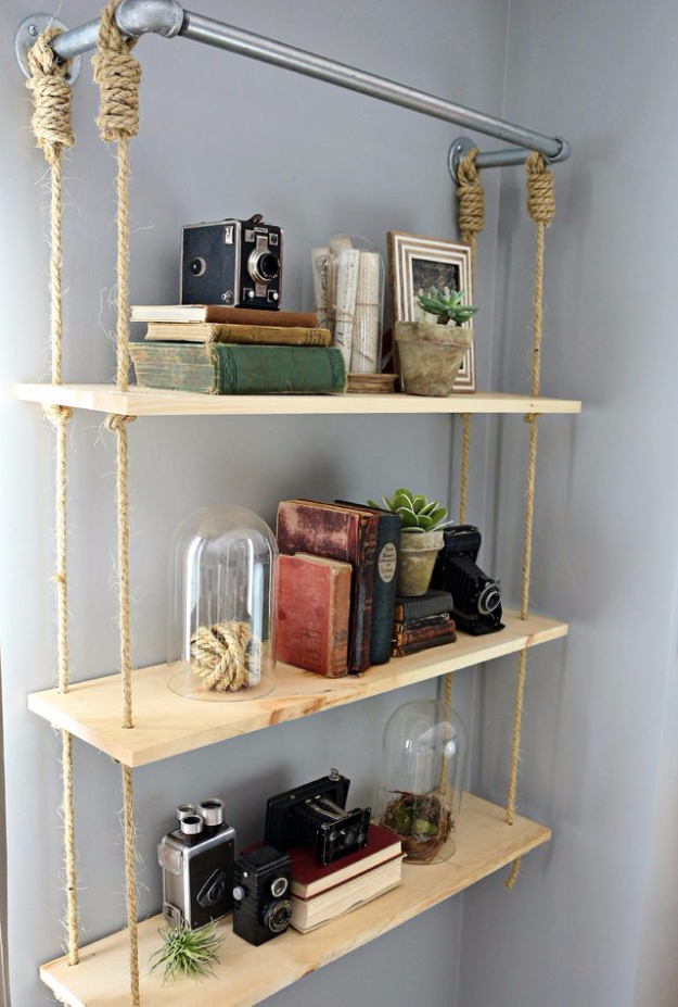DIY Shelves and Do It Yourself Shelving Ideas - DIY Wood Shelves - Easy Step by Step Shelf Projects for Bedroom, Bathroom, Closet, Wall, Kitchen and Apartment. Floating Units, Rustic Pallet Looks and Simple Storage Plans #diy #diydecor #homeimprovement #shelves