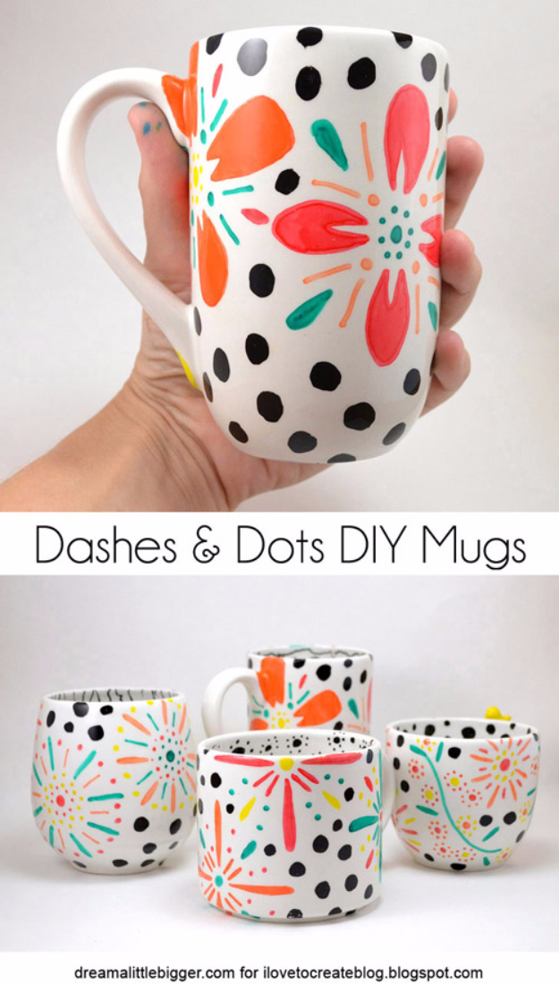 Cheap Crafts To Make and Sell - Dashes And Dots Floral Mugs - Inexpensive Ideas for DIY Craft Projects You Can Make and Sell On Etsy, at Craft Fairs, Online and in Stores. Quick and Cheap DIY Ideas that Adults and Even Teens Can Make on A Budget #diy #crafts #craftstosell #cheapcrafts