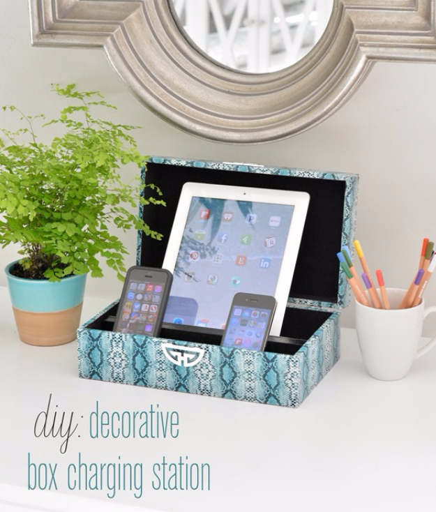 DIY Projects for Teenagers - Decorative Box Charging Station - Cool Teen Crafts Ideas for Bedroom Decor, Gifts, Clothes and Fun Room Organization. Summer and Awesome School Stuff http://diyjoy.com/cool-diy-projects-for-teenagers