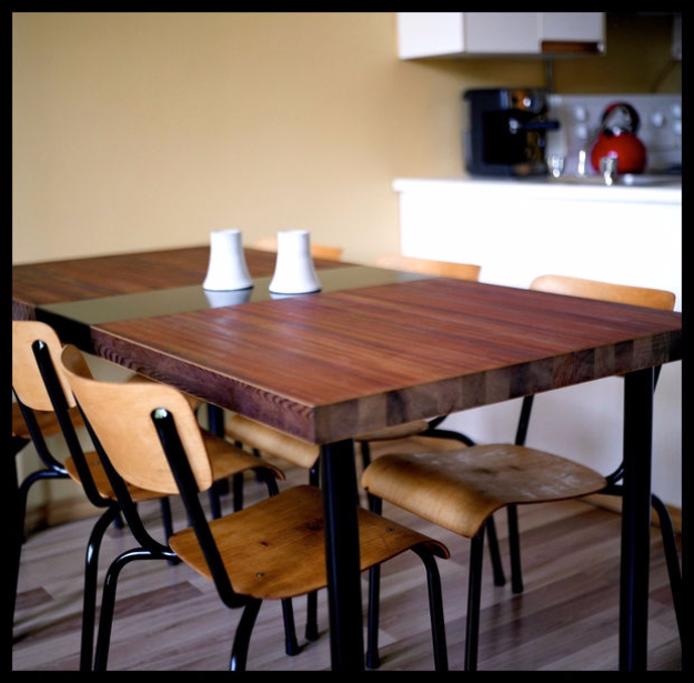 DIY Dining Room Table Projects - Dining Table Made from a Reclaimed Door - Creative Do It Yourself Tables and Ideas You Can Make For Your Kitchen or Dining Area. Easy Step by Step Tutorials that Are Perfect For Those On A Budget #diyfurniture #diningroom