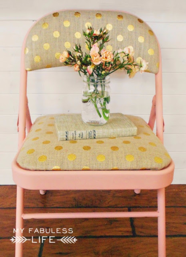 DIY Seating Ideas - Drab To Fab Folding Chairs - Creative Indoor Furniture, Chairs and Easy Seat Projects for Living Room, Bedroom, Dorm and Kids Room. Cheap Projects for those On A Budget. Tutorials for Cushions, No Sew Covers and Benches