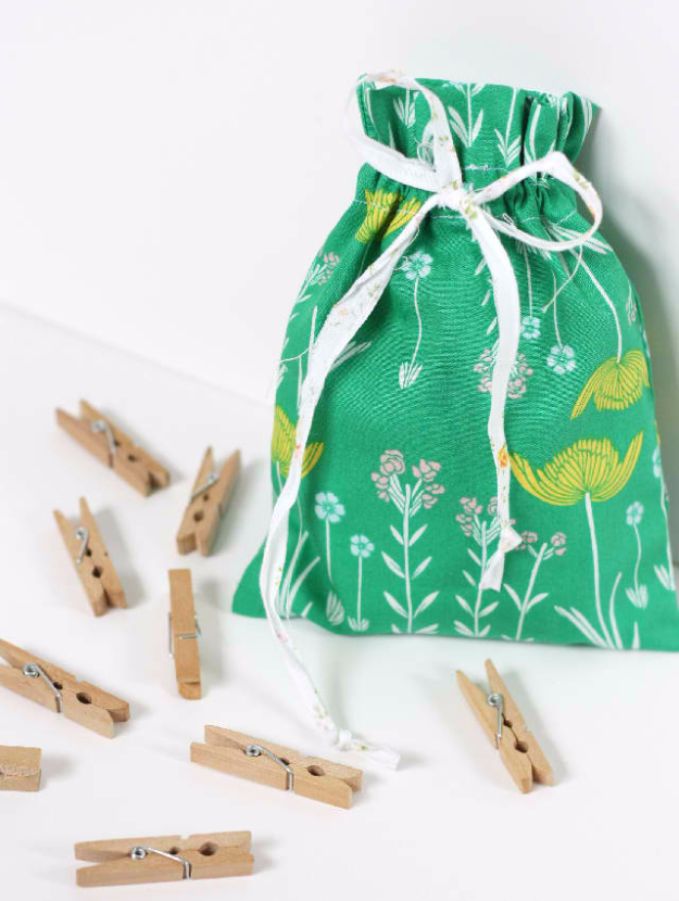 Sewing Crafts To Make and Sell - Drawstring Bag - Easy DIY Sewing Ideas To Make and Sell for Your Craft Business. Make Money with these Simple Gift Ideas, Free Patterns, Products from Fabric Scraps, Cute Kids Tutorials #sewing #crafts