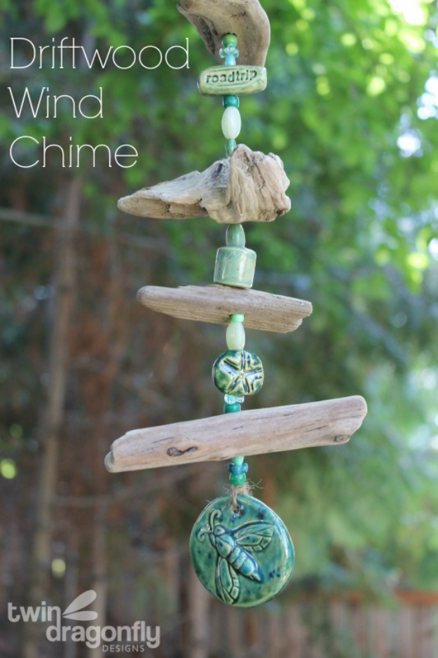 DIY Wind Chimes - Driftwood Wind Chime - Easy, Creative and Cool Windchimes Made from Wooden Beads, Pipes, Rustic Boho and Repurposed Items, Silverware, Seashells and More. Step by Step Tutorials and Instructions #windchimes #diygifts #diyideas #crafts