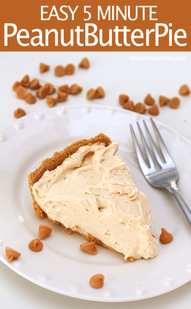 Last Minute Dessert Recipes and Ideas - Easy 5 Minute Peanut Butter Pie - Healthy and Easy Ideas for No Bake Recipe Foods, Chocolate, Peanut Butter. Best Simple Ideas for Summer, For A Crowd and for Parties