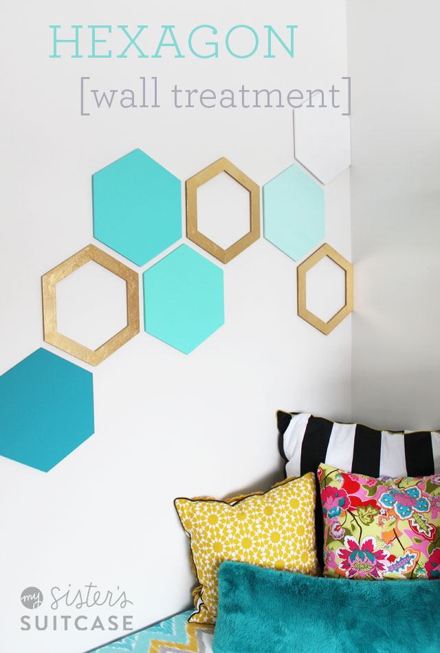 DIY Projects for Teenagers - Easy Hexagon Wall Treatment - Cool Teen Crafts Ideas for Bedroom Decor, Gifts, Clothes and Fun Room Organization. Summer and Awesome School Stuff