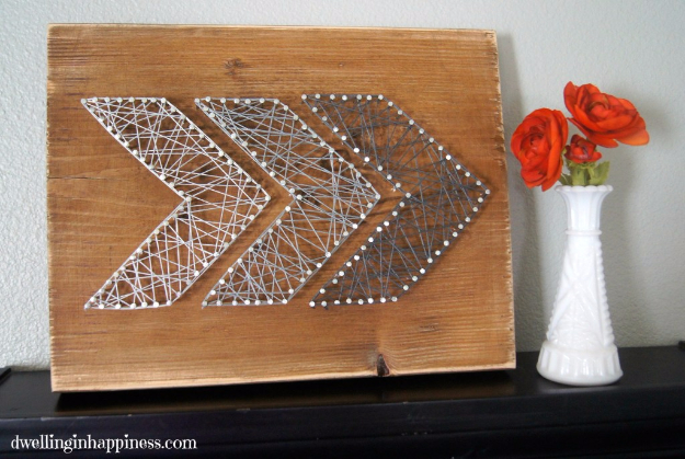 DIY Farmhouse Style Decor Ideas - Easy Rustic Arrow String Art - Creative Rustic Ideas for Cool Furniture, Paint Colors, Farm House Decoration for Living Room, Kitchen and Bedroom #diy #diydecor #farmhouse #countrycrafts