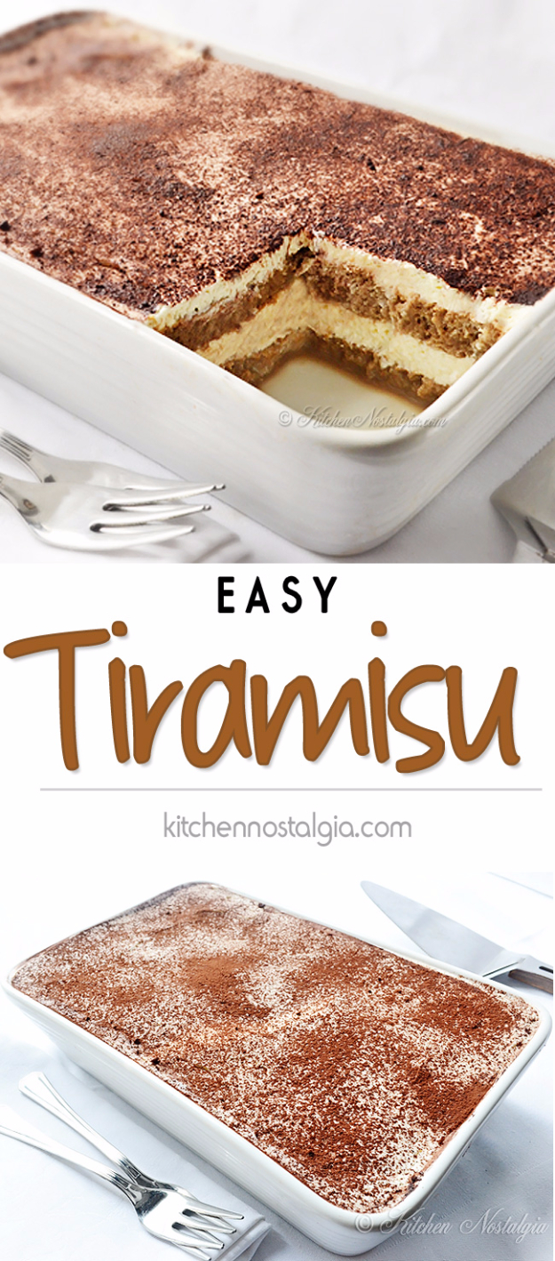Last Minute Dessert Recipes and Ideas - Easy Tiramisu Recipe - Healthy and Easy Ideas for No Bake Recipe Foods, Chocolate, Peanut Butter. Best Simple Ideas for Summer, For A Crowd and for Parties