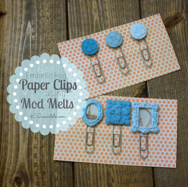 DIY Projects for Teenagers - Embellished Paper Clips Mod Melts - Cool Teen Crafts Ideas for Bedroom Decor, Gifts, Clothes and Fun Room Organization. Summer and Awesome School Stuff