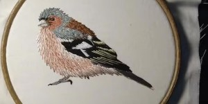 Exquisitely Embroidered Bird Will Look Lovely Hanging on Your Wall or On a Pillow!