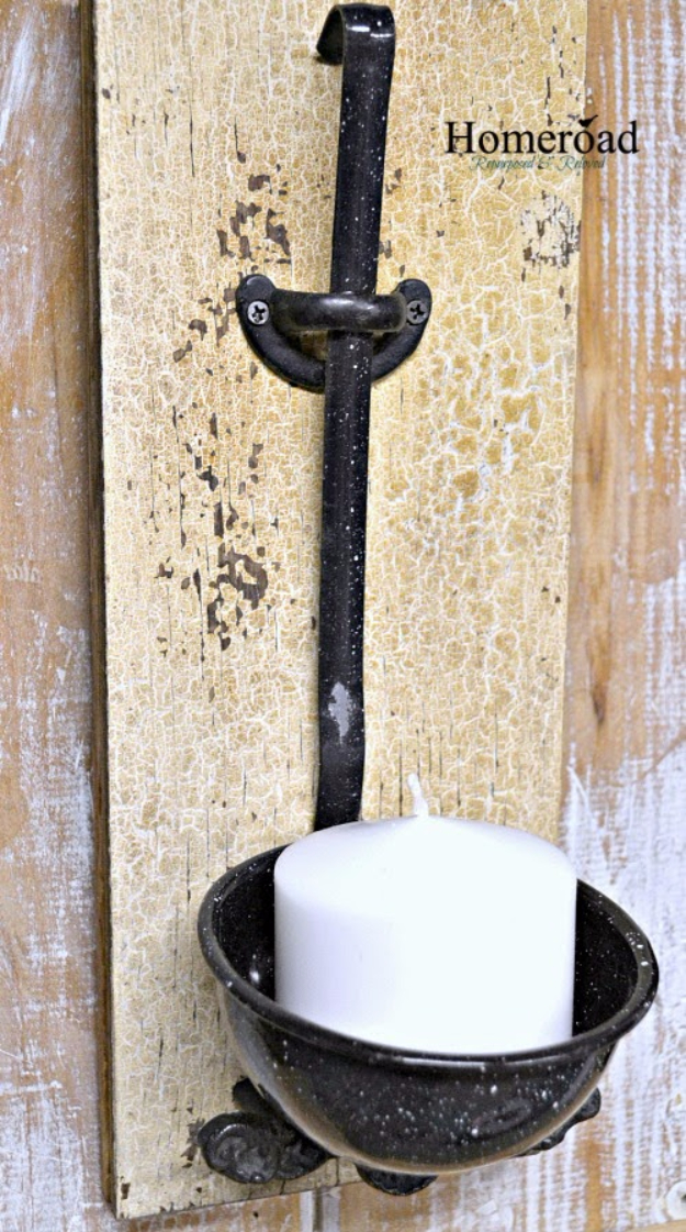DIY Farmhouse Style Decor Ideas - Enamelware Ladle Candle Holder - Creative Rustic Ideas for Cool Furniture, Paint Colors, Farm House Decoration for Living Room, Kitchen and Bedroom #diy #diydecor #farmhouse #countrycrafts