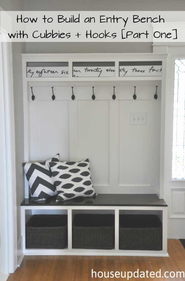 DIY Ideas for Your Entry - Entry Bench With Cubbies And Hooks - Cool and Creative Home Decor or Entryway and Hall. Modern, Rustic and Classic Decor on a Budget. Impress House Guests and Fall in Love With These DIY Furniture and Wall Art Ideas http://diyjoy.com/diy-home-decor-entry