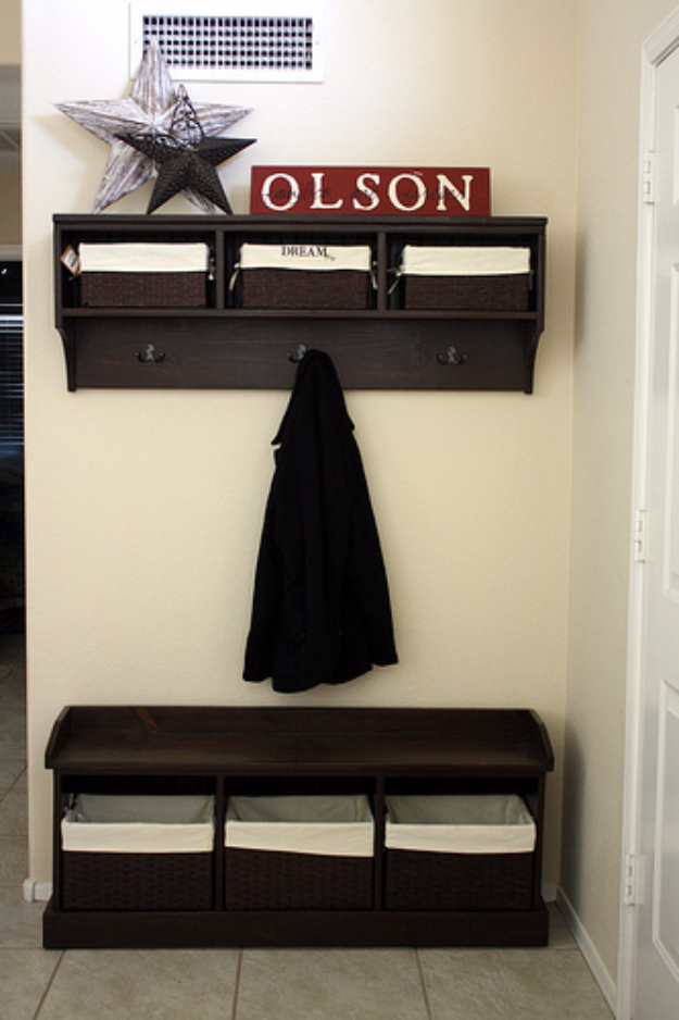DIY Ideas for Your Entry - Entry Storage Bench Shelf - Cool and Creative Home Decor or Entryway and Hall. Modern, Rustic and Classic Decor on a Budget. Impress House Guests and Fall in Love With These DIY Furniture and Wall Art Ideas #diydecor #diyhomedecor