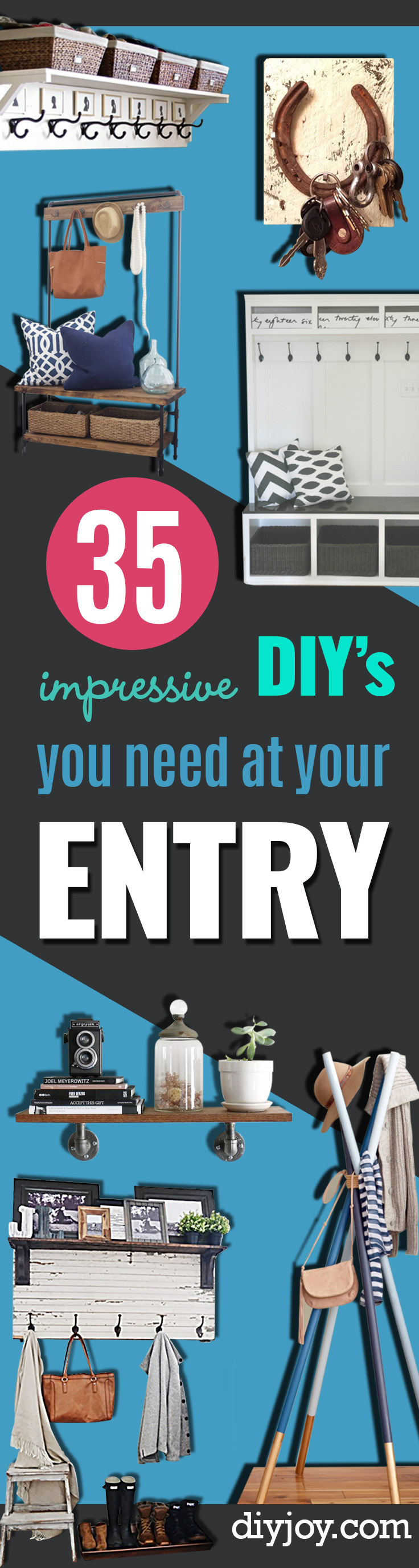 DIY Ideas for Your Entry - Cool and Creative Home Decor or Entryway and Hall. Modern, Rustic and Classic Decor on a Budget. Impress House Guests and Fall in Love With These DIY Furniture and Wall Art Ideas