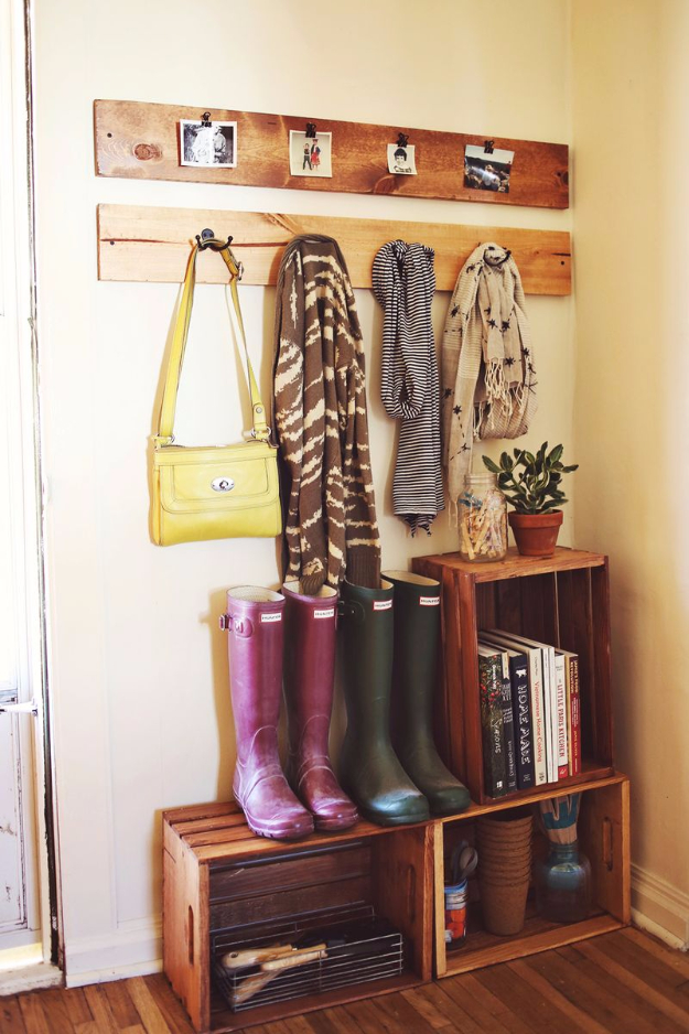 DIY Ideas for Your Entry - Entryway Pallets and Crates Organizer - Cool and Creative Home Decor or Entryway and Hall. Modern, Rustic and Classic Decor on a Budget. Impress House Guests and Fall in Love With These DIY Furniture and Wall Art Ideas http://diyjoy.com/diy-home-decor-entry
