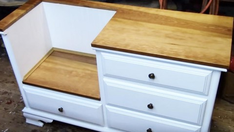 Repurpose a Dresser Into A Fabulous Entryway Bench! | DIY Joy Projects and Crafts Ideas