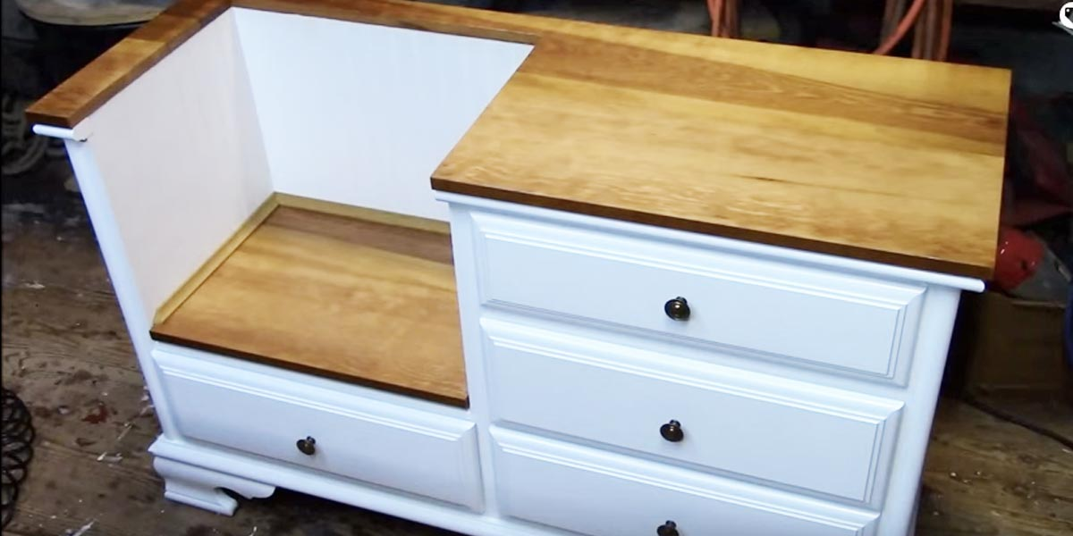 Repurpose a Dresser Into A Fabulous Entryway Bench!