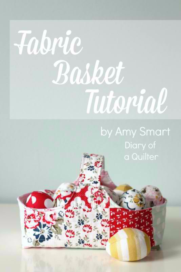 Sewing Crafts To Make and Sell - Fabric Basket Tutorial - Easy DIY Sewing Ideas To Make and Sell for Your Craft Business. Make Money with these Simple Gift Ideas, Free Patterns, Products from Fabric Scraps, Cute Kids Tutorials #sewing #crafts