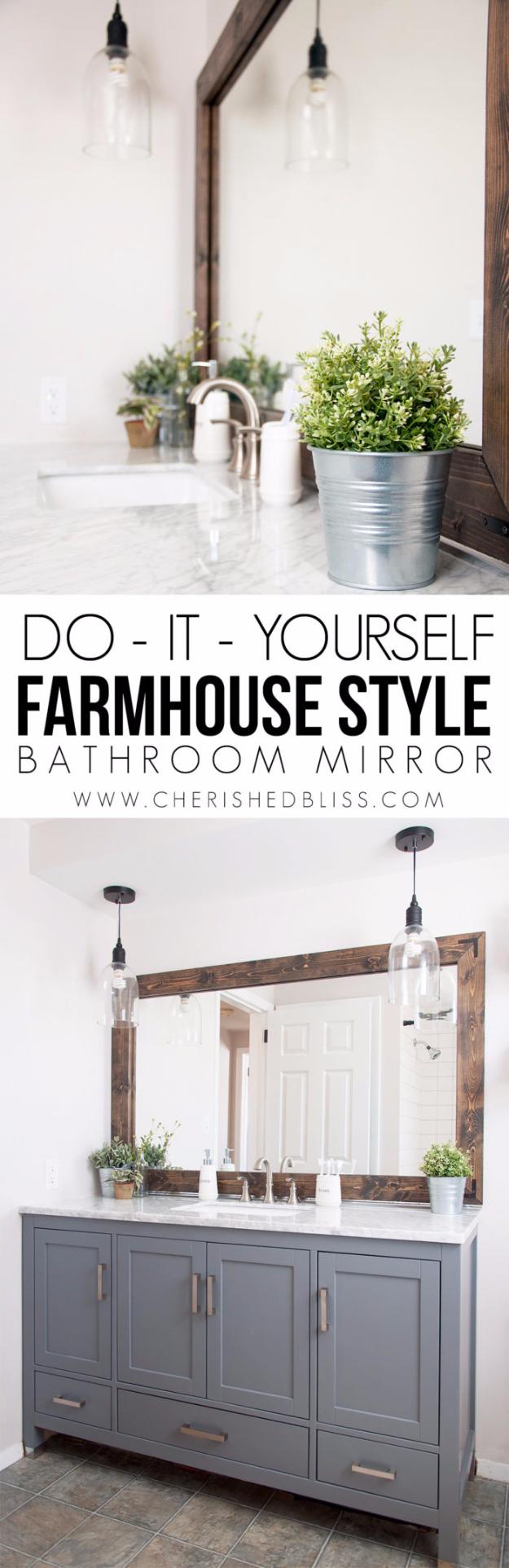 41 More DIY Farmhouse Style Decor Ideas - Farmhouse Bathroom Mirror Tutorial - Creative Rustic Ideas for Cool Furniture, Paint Colors, Farm House Decoration for Living Room, Kitchen and Bedroom http://diyjoy.com/diy-farmhouse-decor-projects