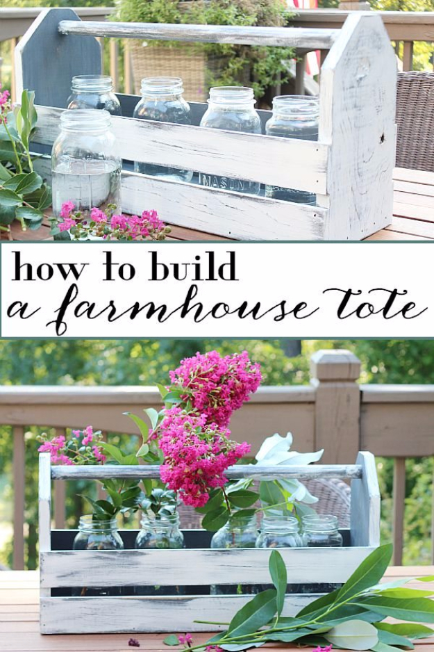 41 More DIY Farmhouse Style Decor Ideas - Farmhouse Wood Tote Centerpiece - Creative Rustic Ideas for Cool Furniture, Paint Colors, Farm House Decoration for Living Room, Kitchen and Bedroom http://diyjoy.com/diy-farmhouse-decor-projects