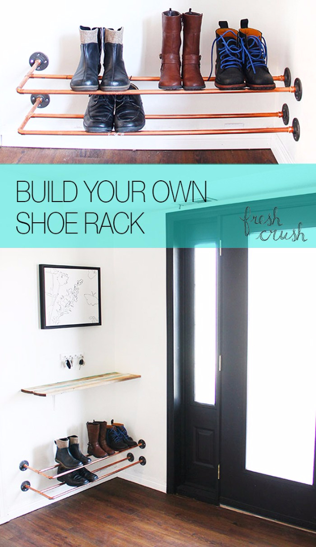 DIY Ideas for Your Entry - Floating Copper Shoe Rack - Cool and Creative Home Decor or Entryway and Hall. Modern, Rustic and Classic Decor on a Budget. Impress House Guests and Fall in Love With These DIY Furniture and Wall Art Ideas #diydecor #diyhomedecor