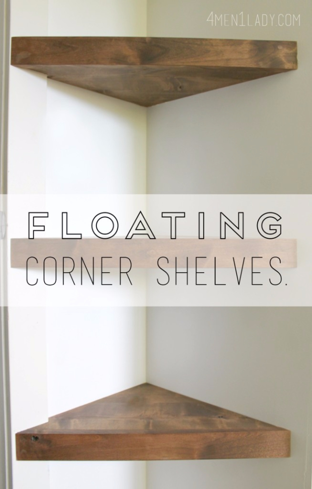 DIY Shelves and Do It Yourself Shelving Ideas - Floating Corner Shelves - Easy Step by Step Shelf Projects for Bedroom, Bathroom, Closet, Wall, Kitchen and Apartment. Floating Units, Rustic Pallet Looks and Simple Storage Plans #diy #diydecor #homeimprovement #shelves