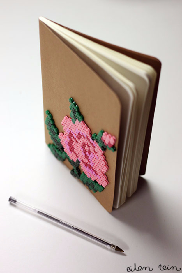 DIY Projects to Make and Sell on Etsy - Flowery Perler Notebook - Learn How To Make Money on Etsy With these Awesome, Cool and Easy Crafts and Craft Project Ideas - Cheap and Creative Crafts to Make and Sell for Etsy Shop #etsy #crafts