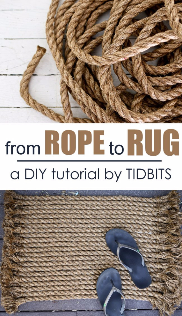Easy DIY Rugs and Handmade Rug Making Project Ideas - From Rope To Rug DIY Tutorial - Simple Home Decor for Your Floors, Fabric, Area, Painting Ideas, Rag Rugs, No Sew, Dropcloth and Braided Rug Tutorials