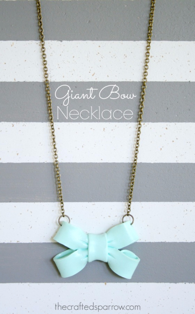DIY Projects for Teenagers - Giant Bow Necklace - Cool Teen Crafts Ideas for Bedroom Decor, Gifts, Clothes and Fun Room Organization. Summer and Awesome School Stuff