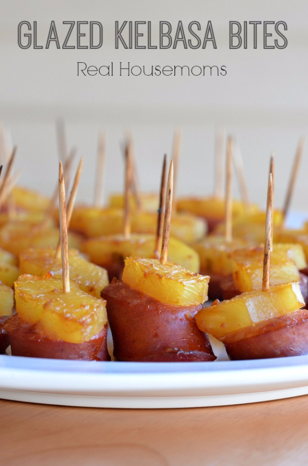 Last Minute Party Foods - Glazed Kielbasa Bites - Easy Appetizers, Simple Snacks, Ideas for 4th of July Parties, Cookouts and BBQ With Friends. Quick and Cheap Food Ideas for a Crowd#appetizers #recipes #party
