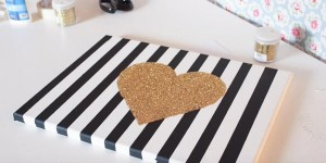 Chic Striped Canvas & Sparkling Glitter Heart Is A Stylish Statement For The Wall!