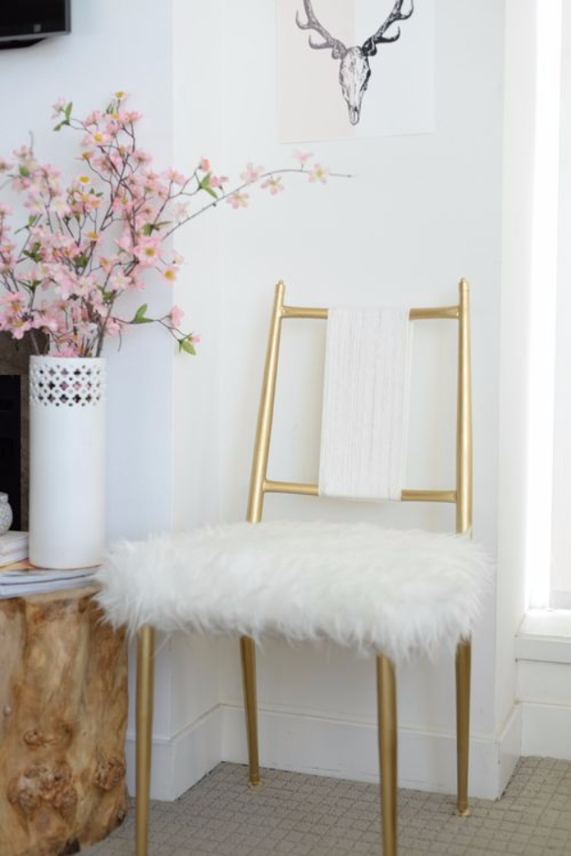 Gold ChairDIY Seating Ideas - Gold Chair Makeover - Creative Indoor Furniture, Chairs and Easy Seat Projects for Living Room, Bedroom, Dorm and Kids Room. Cheap Projects for those On A Budget. Tutorials for Cushions, No Sew Covers and Benches