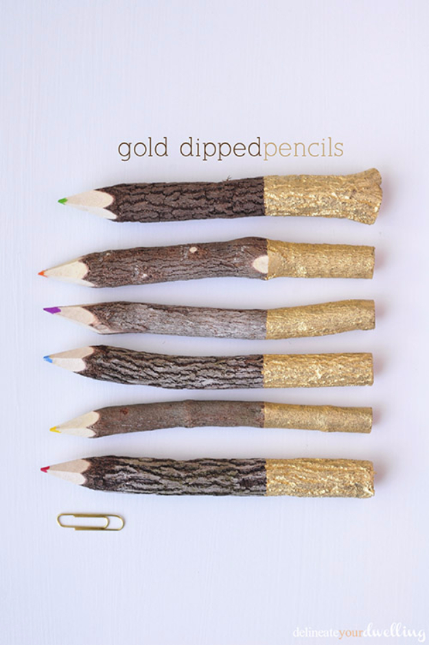 Cheap Crafts To Make and Sell - Gold Dipped Pencils - Inexpensive Ideas for DIY Craft Projects You Can Make and Sell On Etsy, at Craft Fairs, Online and in Stores. Quick and Cheap DIY Ideas that Adults and Even Teens Can Make on A Budget http://diyjoy.com/cheap-crafts-to-make-and-sell