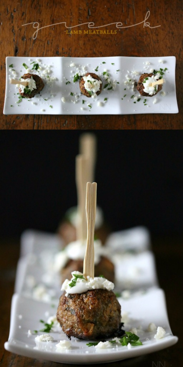Last Minute Party Foods - Greek Lamb Meatballs - Easy Appetizers, Simple Snacks, Ideas for 4th of July Parties, Cookouts and BBQ With Friends. Quick and Cheap Food Ideas for a Crowd#appetizers #recipes #party