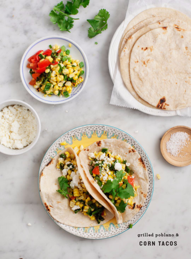 Last Minute Party Foods - Grilled Corn And Poblano Tacos - Easy Appetizers, Simple Snacks, Ideas for 4th of July Parties, Cookouts and BBQ With Friends. Quick and Cheap Food Ideas for a Crowd#appetizers #recipes #party