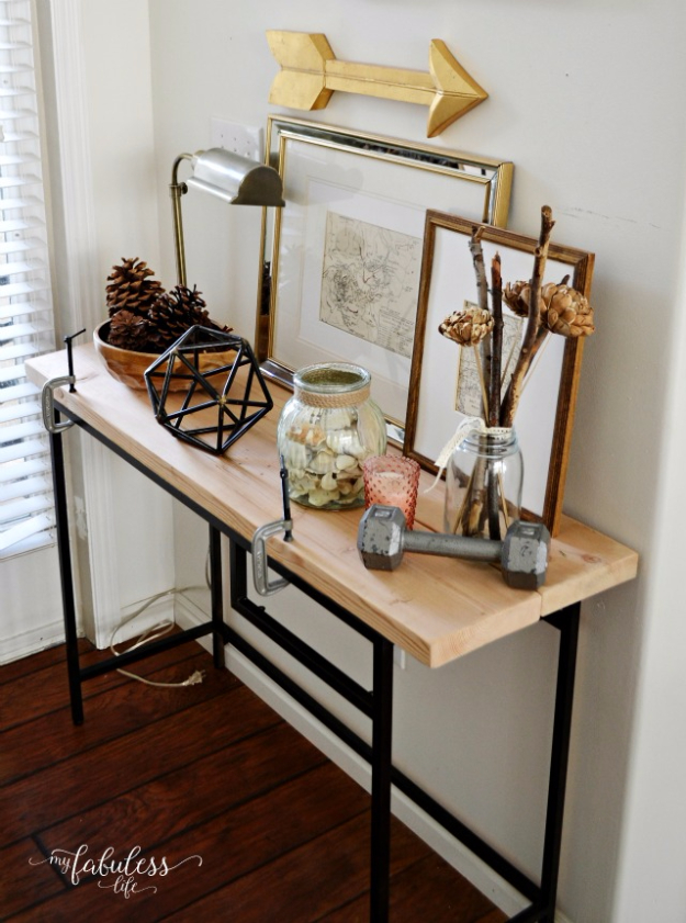 DIY Ideas for Your Entry - Hack A Farmhouse Entryway Table - Cool and Creative Home Decor or Entryway and Hall. Modern, Rustic and Classic Decor on a Budget. Impress House Guests and Fall in Love With These DIY Furniture and Wall Art Ideas http://diyjoy.com/diy-home-decor-entry