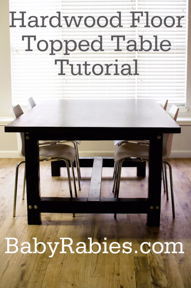 DIY Dining Room Table Projects - DIY Dining Room Table Projects - Hardwood Floor Topped Table Tutorial - Creative Do It Yourself Tables and Ideas You Can Make For Your Kitchen or Dining Area. Easy Step by Step Tutorials that Are Perfect For Those On A Budget #diyfurniture #diningroom