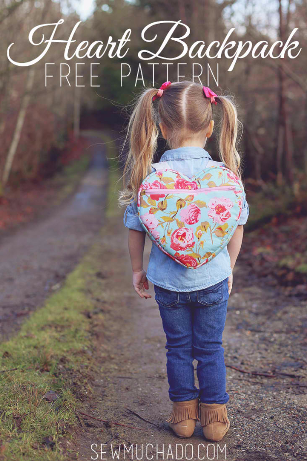 Sewing Crafts To Make and Sell - Heart Backpack - Easy DIY Sewing Ideas To Make and Sell for Your Craft Business. Make Money with these Simple Gift Ideas, Free Patterns, Products from Fabric Scraps, Cute Kids Tutorials #sewing #crafts