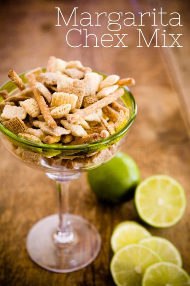 Last Minute Party Foods - Homemade Margarita Chex Mix - Easy Appetizers, Simple Snacks, Ideas for 4th of July Parties, Cookouts and BBQ With Friends. Quick and Cheap Food Ideas for a Crowd#appetizers #recipes #party
