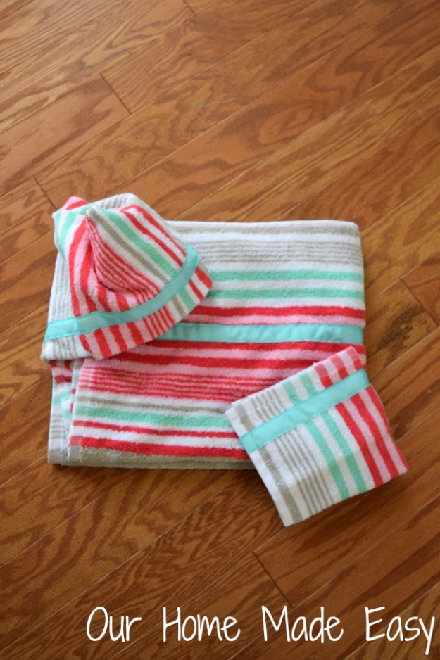 Sewing Crafts To Make and Sell - Hooded Towel - Easy DIY Sewing Ideas To Make and Sell for Your Craft Business. Make Money with these Simple Gift Ideas, Free Patterns, Products from Fabric Scraps, Cute Kids Tutorials #sewing #crafts