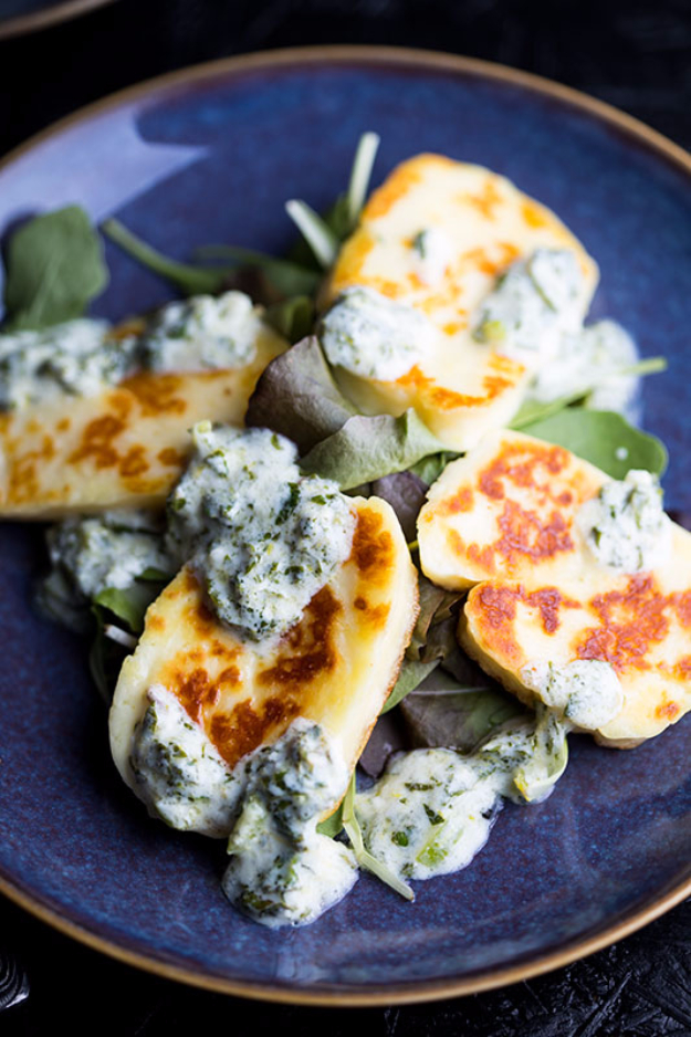 Last Minute Party Foods - Hot Halloumi Slices With Mint Yogurt - Easy Appetizers, Simple Snacks, Ideas for 4th of July Parties, Cookouts and BBQ With Friends. Quick and Cheap Food Ideas for a Crowd#appetizers #recipes #party