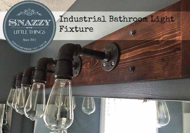 DIY Farmhouse Style Decor Ideas - Industrial Bathroom Light Fixture - Creative Rustic Ideas for Cool Furniture, Paint Colors, Farm House Decoration for Living Room, Kitchen and Bedroom #diy #diydecor #farmhouse #countrycrafts